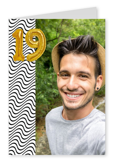 wavy pattern golden balloon number