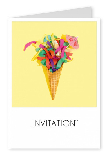 polaroid photo ice-cream cone with colourful decoration on yellow ground