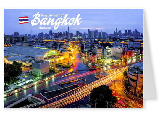 photo of bangkok skyline at night