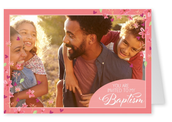 Baptism invitation card in pink