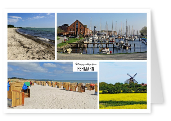 Postcard with four photos of Fehmarn – Beach, port and windmill