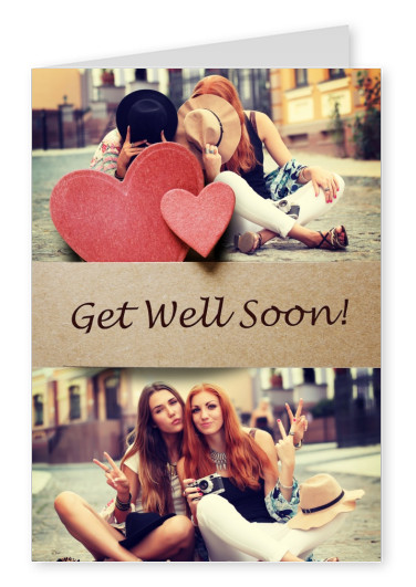 two little red hearts made of cloth on cardboard, get well soon.