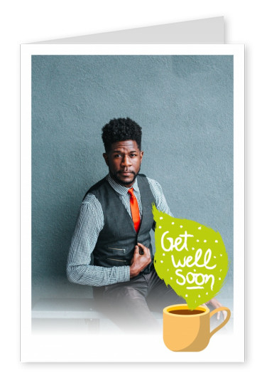 little yellow cup illustration and get well soon wishes