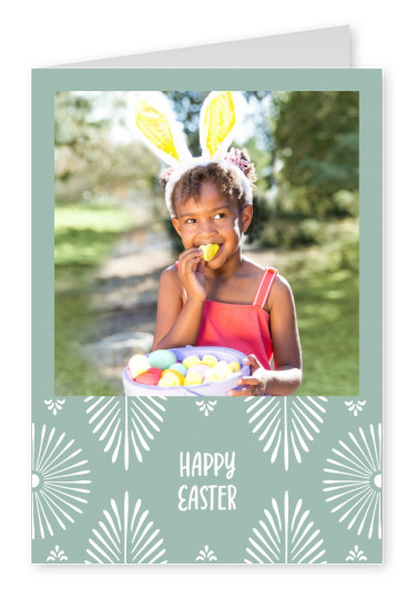 Happy Easter sage green, pattern