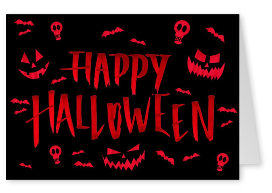 Red lettering with bats,skulls and pumpkins on black background