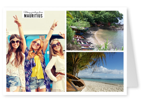 Postcard Mauritius with 2 photos