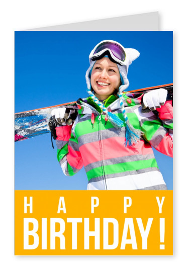 HAPPY BIRTHDAY lettering on yellow background