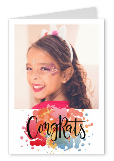 Congrats-card with blurs of colors for quadratic photo