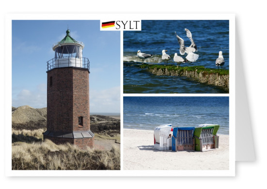 fotocollage of Sylt with beach chairs, lighthouse and gulls