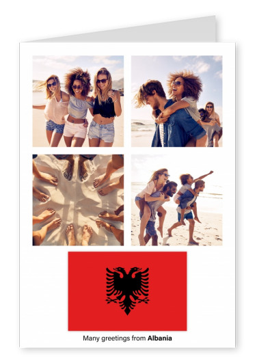 Postcard with flag of Albania