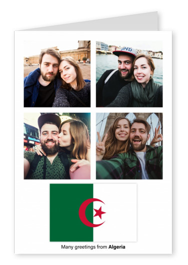 Postcard with flag of Algeria