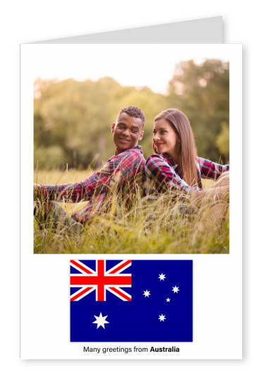 Postcard with flag of Australia
