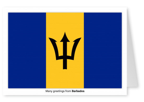 Postcard with flag of Barbados