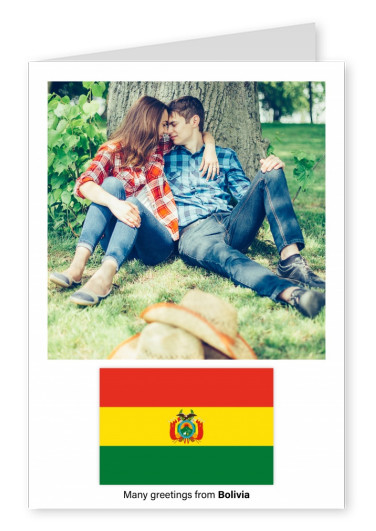Postcard with flag of Bolivia