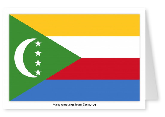 Postcard with flag of Comoros