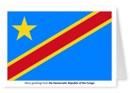 Postcard with flag of the Democratic Republic of the Congo