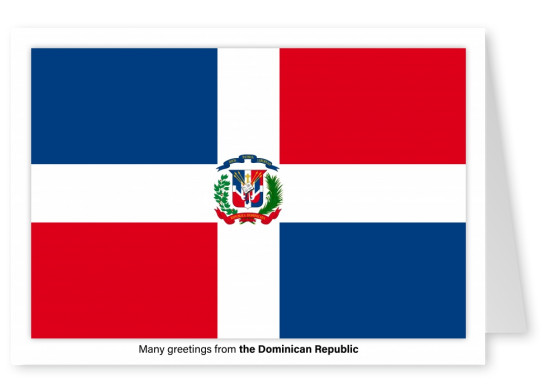 Postcard with flag of the Dominican Republic