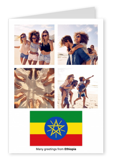Postcard with flag of Ethiopia