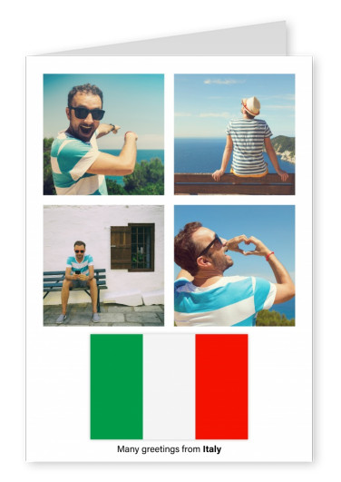Postcard with flag of Italy