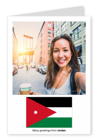 Postcard with flag of Jordan