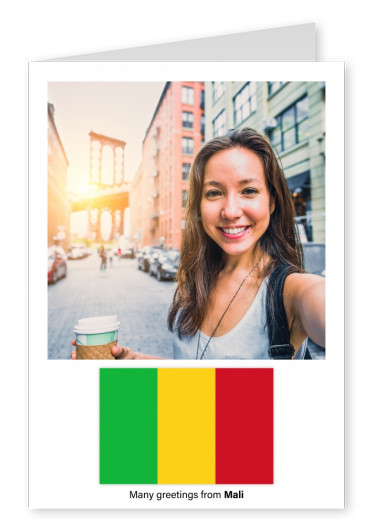 Postcard with flag of Mali