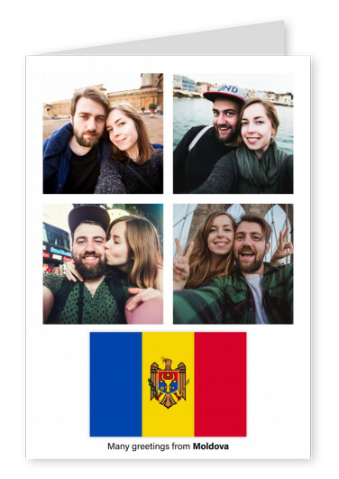 Postcard with flag of Moldova