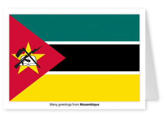 Postcard with flag of Mozambique