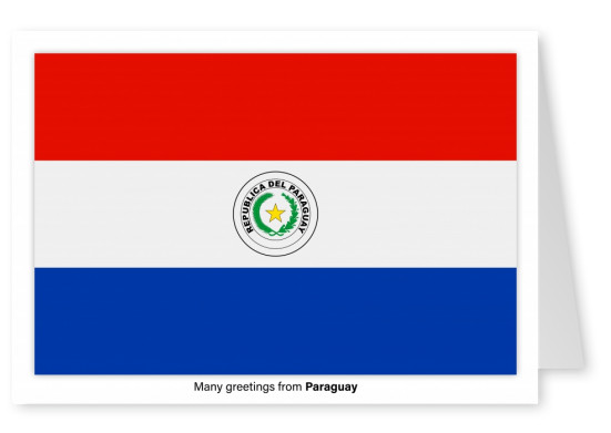 Postcard with flag of Paraguay