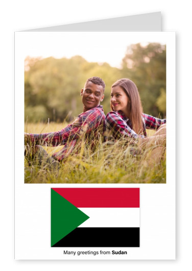Postcard with flag of Sudan
