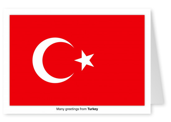 Postcard with flag of Turkey
