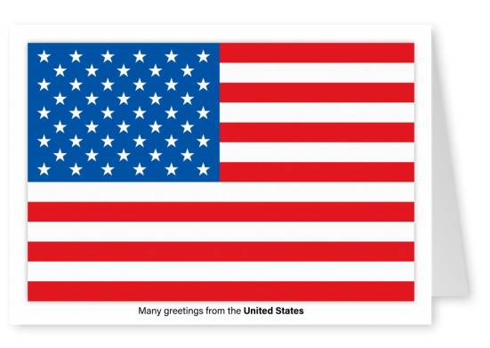 Postcard with flag of the United States