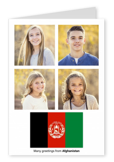 Postcard with flag of Afghanistan