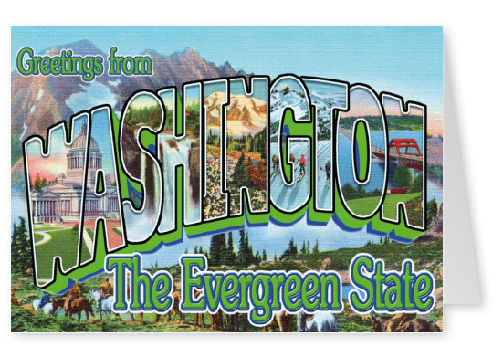 Washington Retro Style Postcard
