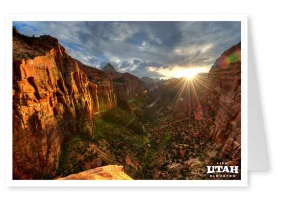 Utah Zion observation point at sunset