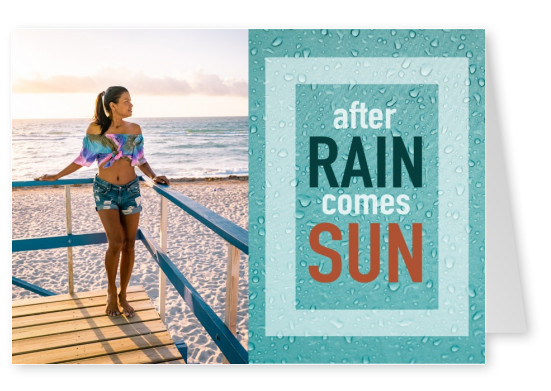 greeting card with a photo of raindrops and quote