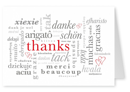 thank you danke gracias thanks postcard