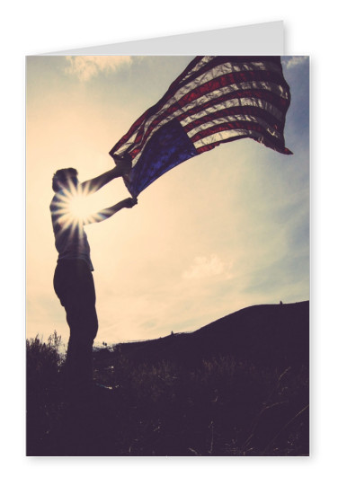 person holding american flag