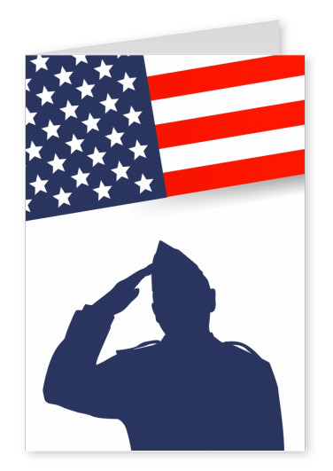 card with soldier and flag