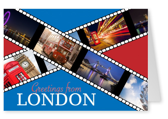 greeting card with analogous film with photos of London