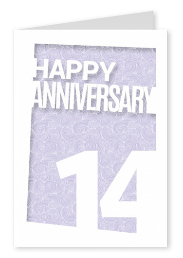 anniversary 14 postcard design greeting card