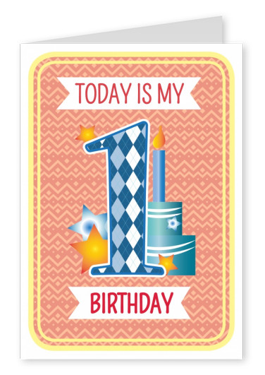 Today is my 1st Birthday-lettering on a orange-patterned backround