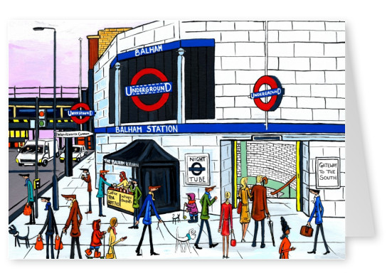 Illustration Södra London Konstnären Dan Balham Station natt tube