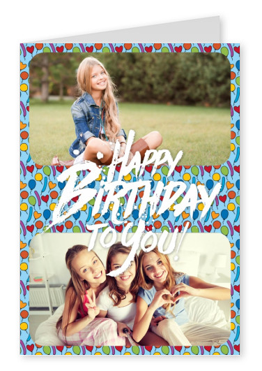 Personalize card with space for two photos with white lettering: Happy birthday to you on a colorful balloon pattern