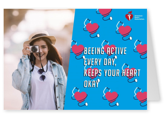 Card with quote being active every day, keeps your heart okay