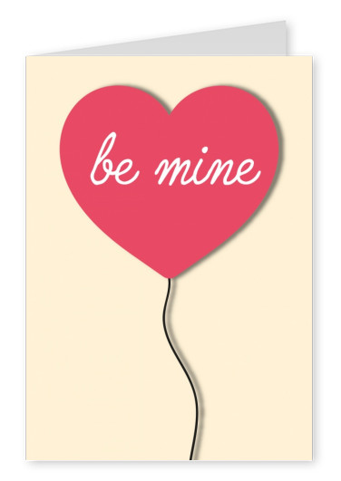 heart mit quote be mine postcard