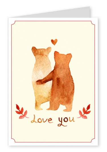 illustration of two bears, a heart and lettering love you