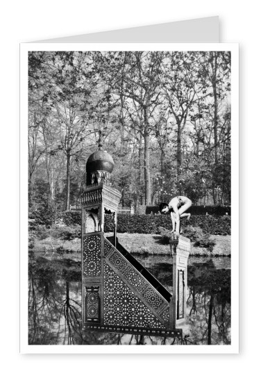 surrealistic black n white collage Belrost enchanted garden