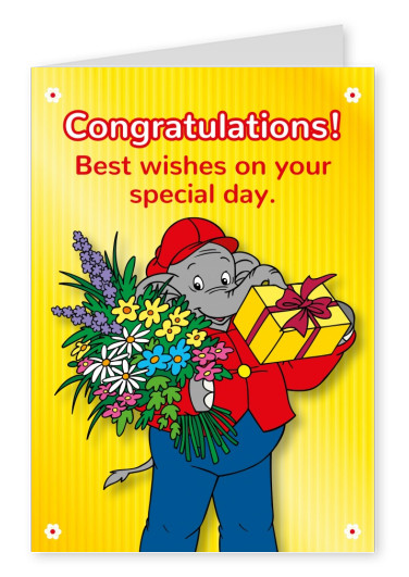 illustration Benjamin the elephant with bouquet and gift