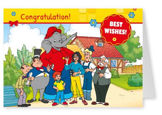 illustration Benjamin the elephant with all his friends in front of the zoo