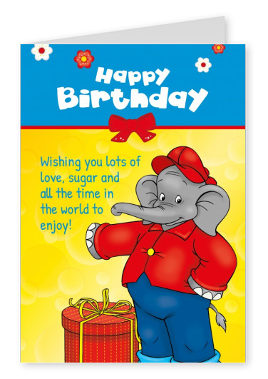 illustration Benjamin the elephant clebrating birthday with gift